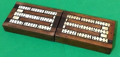 Old Antique Inlaid Wooden Cribbage Card Game Wide Playing Cards Scoring Box #7