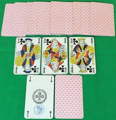 Old Antique French Piquet Playing Cards - excellent - Gold Corners Cartes