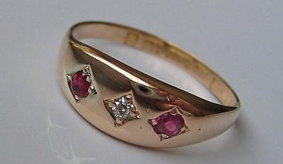Rubinring mit Diamant diamonds ruby in 15 Kt. 625 Gold Gr. 52 England antik