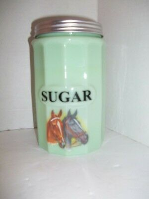 GREEN JADE MILK GLASS RIBBED SUGAR CANISTER Metal Lid HORSES DEPRESSION STYLE