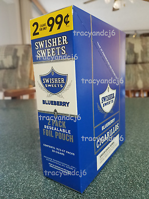 1 A SWISHER SWEETS BLUEBERRY FLAVOR BOX OF 15 PK TOTAL 30 Pcs