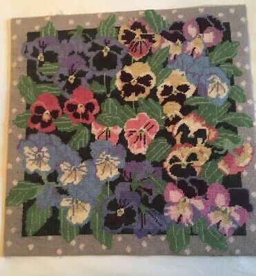 RARE VINTAGE RETRO Needlepoint EHRMAN pansies Design Tapestry Cushion  Completed
