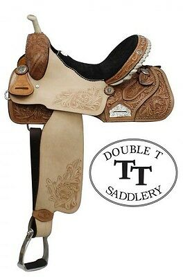 """15"""" Double T Barrel Racing Racer TURQUOISE STONES Embossed Seat Leather Saddle"""