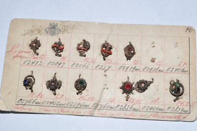Lovely Vintage Art Deco Sample Card Of Charms / Fixings With Coral & Turquoise