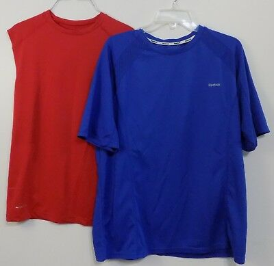 b8fcec707ad Men's Lot of Two Workout T-shirt Blue & Red Size Large Layer 8 Reebok