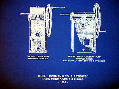 "Vintage Diving Helmet Air Pumps Siebe Gorman Blueprint Plan 14""x20""  (210)"