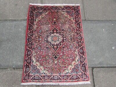 Shabby Chic Old Traditional Hand Made Persian Oriental Pink Wool Rug 98x70cm