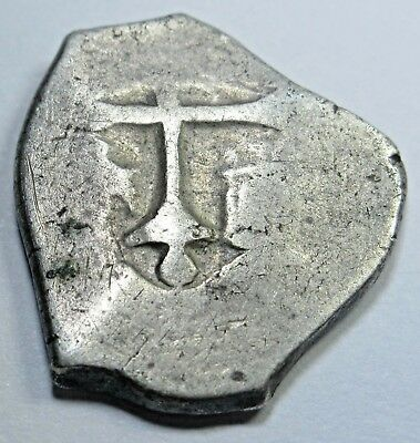 1600's Spanish Silver 1 Real Cob Piece Of 8 Reales Pirate Treasure Colonial Coin