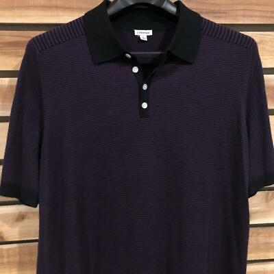 dbc67f5e EUC Mens Purple/Black Striped J Peterman Short Sleeve Cotton Polo Shirt Golf  XL