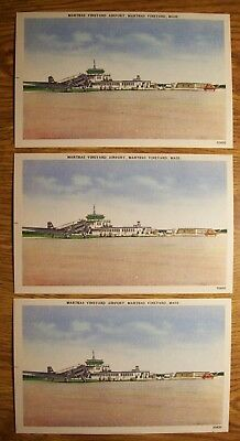 Three Vintage Mint Postcards, Marthas Vineyard Airport, Marthas Vineyard, Mass.