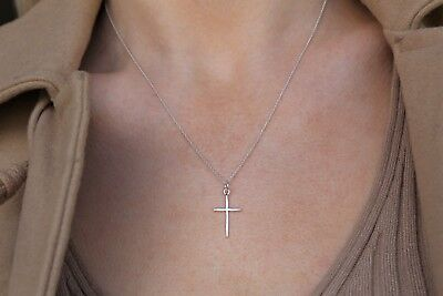 """925 STERLING SILVER 18-30/""""X2MM GOLD MOON BEAD NECKLACE NAIL CROSS PENDANT*AGP180"""