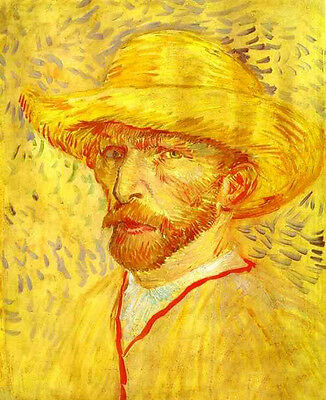 Stunning Oil painting Vincent Van Gogh - Self-Portrait with Straw Hat in January