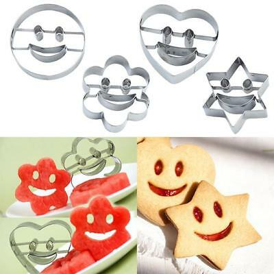 4Pcs Stainless Steel Emoji Biscuit Cookie Cutter Smiling Face cake Decor Mould D