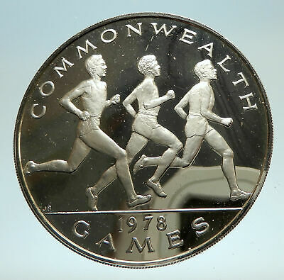 1978 SAMOA UK British Commonwealth Games Boxers Boxing Silver Coin i76818