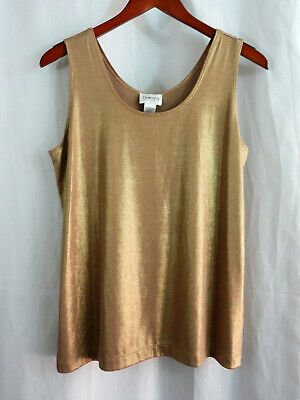5a2d703baacf7c Chicos Travelrs Gold Sleeveless Tank Shirt Liquid Shimmer Top Sz 2 Nwt New