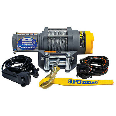 superwinch 1125220 terra 25 winch 2500lb steel wire rope cable 3/16in  x 50