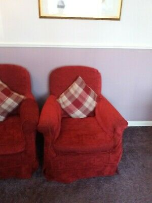 2x small Laura Ashley Chairs with red/ cream covers VGC.