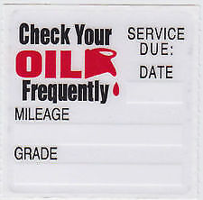 20 oil change service reminder static cling stickers