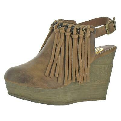 765f6170f6f7 Sbicca Womens Allegretto Tan Fringe Wedge Booties Shoes 6 Medium (B