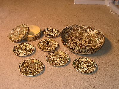 """Alfred E. Knobler & Co. Alcohol Proof Japan 6 coasters &  8"""" bowl paper mache"""