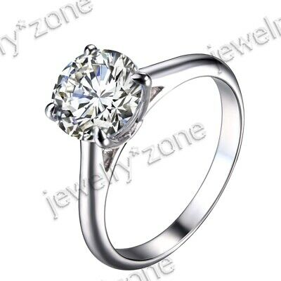 Engagement Wedding Jewelry 8mm Round Cut Cubic Zirconia Sterling Silver 925 Ring