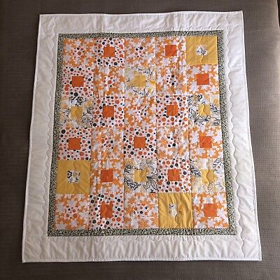 """Handmade Patchwork Quilt 'Bright' Size 37"""" x 43"""" Quality made Wool Batting"""