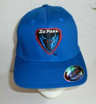 detailed look d0cc3 3a718 COLLEGE NCAA DEPAUL BLUE DEMONS BASKETBALL Fitted Cap Hat Size  L XL