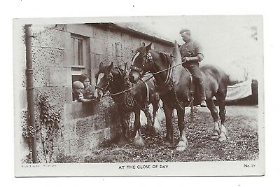 Vintage RP postcard 'At the end of the day' Farmer on his working horse.