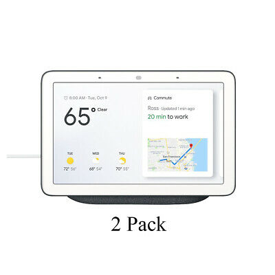 2 Pack Google Home Hub - Smart Home Controller w/ Assistant GA00515-US Charcoal