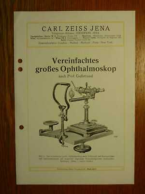 OPTIK - ZEISS Grosses Ophthalmoskop nach Prof. Gullstrand - Prospekt (1926)