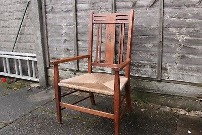 Antique Arts & Crafts Chair Rush Seat Solid Wood Oak Armchair Looks Hardly Used