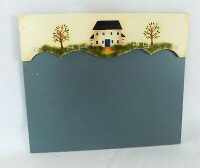 Folk Art Wood Wall Hanging Holds Paper Kitchen Office Primitive Hand Painted