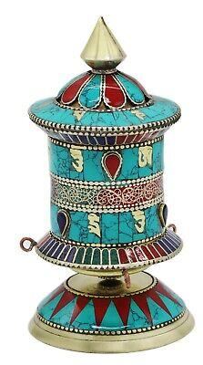 """5.5"""" Hand-made Tibetan Turquoise Prayer Wheel with Coral & Lapis ~ Table decor"""