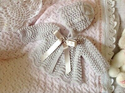 Silver Grey Handknitted 2pce Set For Newborn Or Reborn Doll. Brand New.