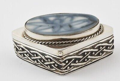 Lovely Vintage 925 Sterling Silver Fancy Hinged Lid Trinket Box