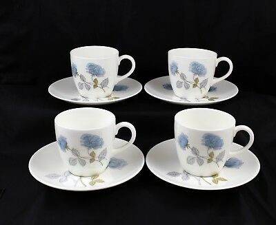 Set of 4 Wedgwood Fine bone China Ice Rose Coffee Cups and Saucers