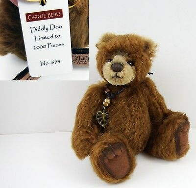 Very Rare Charlie Bears Minimo Wildlife Grizzly Brown Bear ~ Diddly Doo