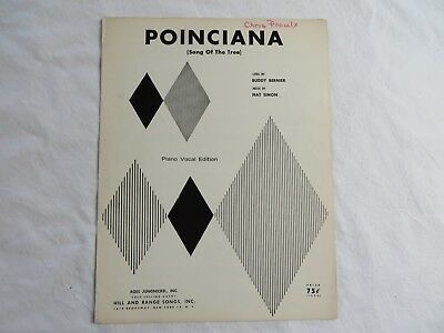 VINTAGE SHEET MUSIC POINCIANA SONG OF THE TREE BUDDY BERNIER