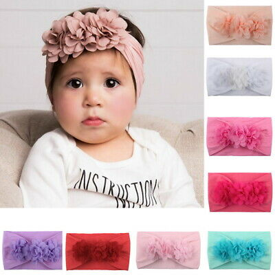 2Pcs Baby Infant Girl Hairband Bowknot Elastic Band Flower Headband Accessories