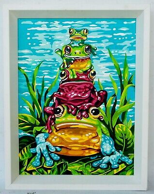 Vintage Paint By Number Painting Colorful Stack Of Frogs White Wood Frame