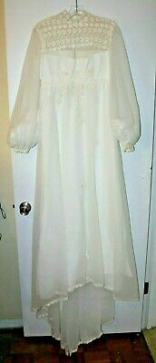 Vintage 1970's White with Lace Zipper Back Wedding Dress