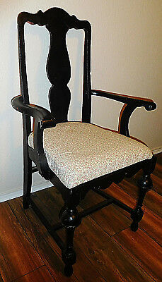 Vtg Early 20th Century Antique Black Fiddle Back Upholstered Captains Arm Chair