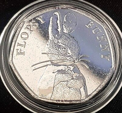 2018 Flopsy Bunny Beatrix Potter 50p Fifty Pence Unc Coin in Protective Capsule