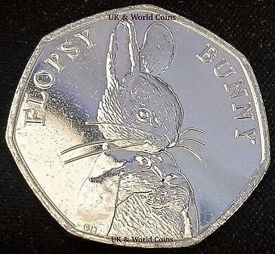 2018 Flopsy Bunny Beatrix Potter 50p Fifty Pence Uncirculated Coin