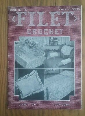 3e47bc1f67f2 Vintage 1943 J p Coats Crochet Book ~Filet Crochet ~Tablecloths Bedspreads  Doily