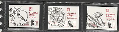 GB Folded booklets £1 1986/7 Musical series SG FH5/7, 5 & 6 being Cylinder panes