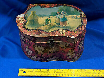 Antique Jewelry Sewing Small Hat Box Harvest Art Scene 10x7x5 VTG Large Old