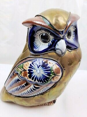"VTG Ceramic Metal 8.5"" Owl Hand Painted Blue Brown White Green Bird"