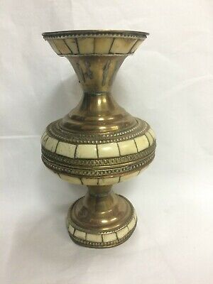 Antique Handmade Polished Camel Bone Inlay Copper & Brass Vase VERY OLD and RARE