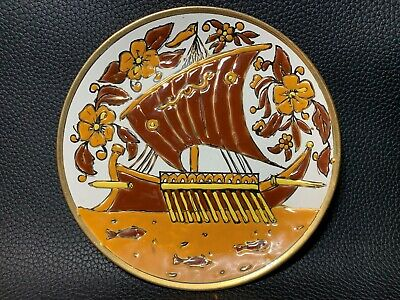 Vintage Signed Decorative Greek Manousakis Keramik Plate Colorful Hanging Plate
